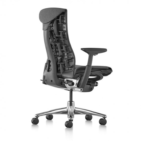 Chaise EMBODY Medley Charcoal, vue dos profil, Structure noir, Base Aluminium Poli - Herman Miller