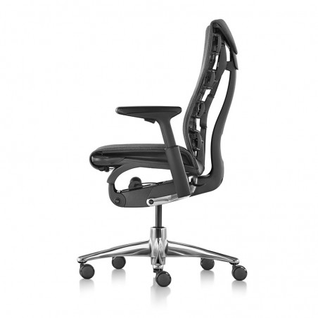 Chaise EMBODY Medley Charcoal, vue profil, Structure noir, Base Aluminium Poli - Herman Miller