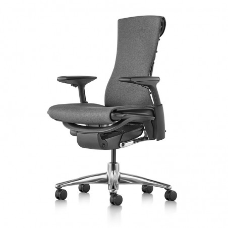 Chaise EMBODY Medley Charcoal, vue profil face, Structure noir, Base Aluminium Poli - Herman Miller