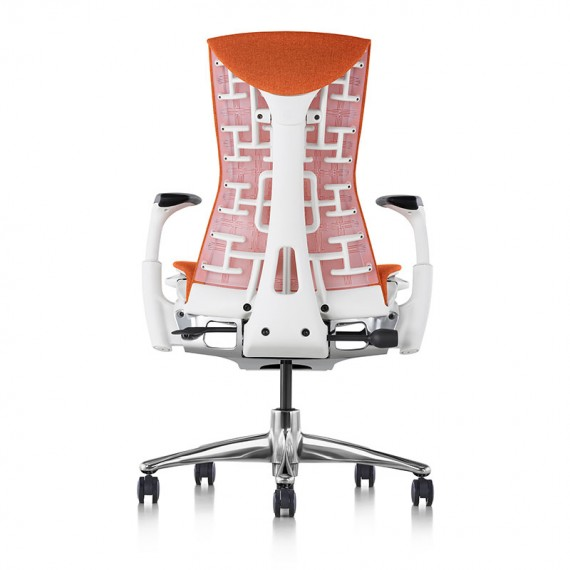 Siège de bureau ergonomique embody couleur orange papaye vue de dos