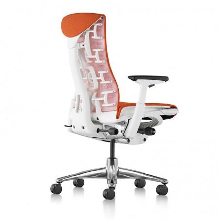 Siège de bureau ergonomique embody couleur orange papaye vue de dos et profil