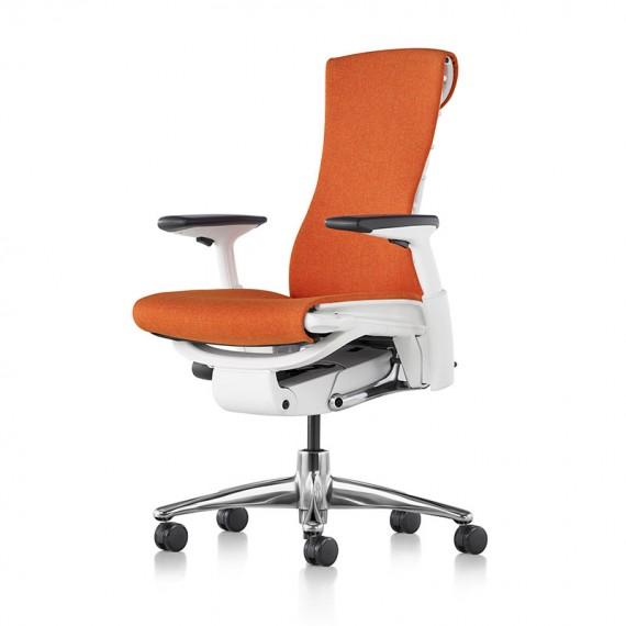 Siège de bureau ergonomique embody couleur orange papaye vue de profil et face