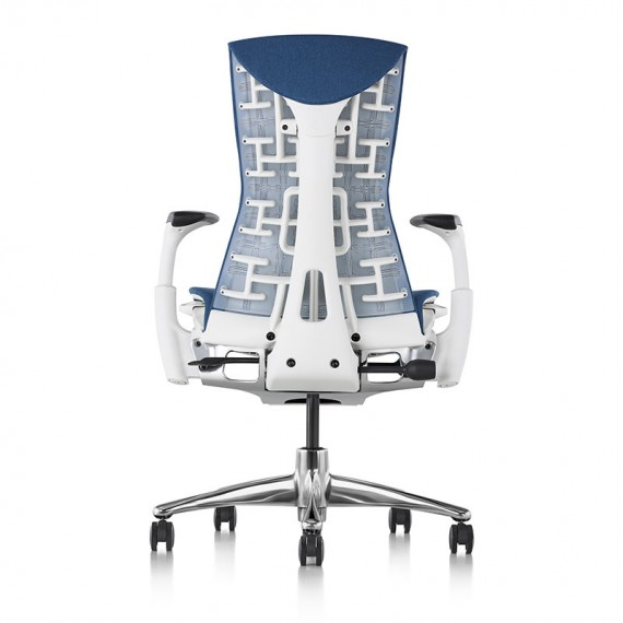 Chaise de bureau ergonomique embody, coloris bleu type GROTTO vue de dos