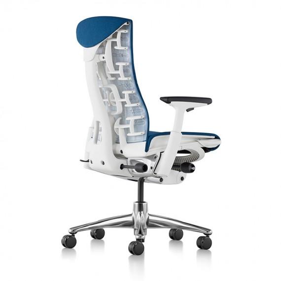 Chaise de bureau ergonomique embody, coloris bleu type GROTTO vue de dos et profil