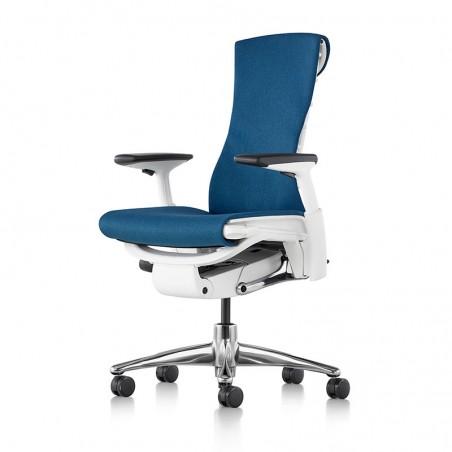 Chaise de bureau ergonomique embody, coloris bleu type GROTTO vue de face et profil