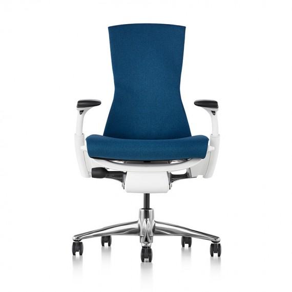 Chaise de bureau ergonomique embody, coloris bleu type GROTTO vue de face
