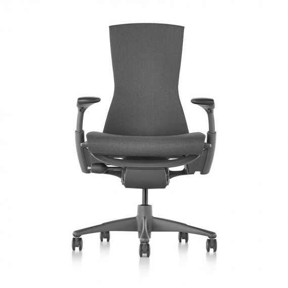 Chaise EMBODY Charcoal, Dos Noir, vue face, Base Graphite - Herman Miller