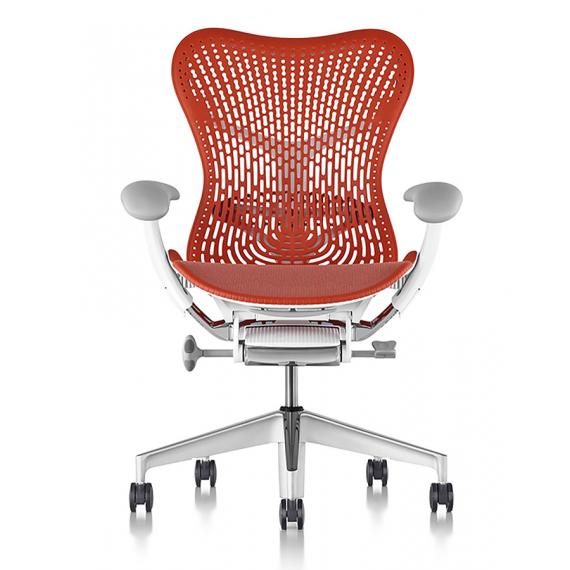 Chaise MIRRA 2 - Finition Urban Orange Triflex Back/ Structure Blanche - Herman Miller