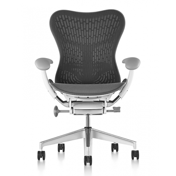 Chaise MIRRA 2 - Finition Slate Grey Triflex Back/ Structure Blanche - Herman Miller