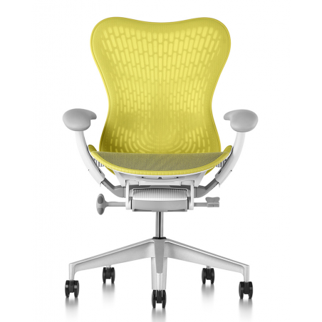 Chaise MIRRA 2 - Finition Lime Green Triflex Back/ Structure Blanche - Herman Miller