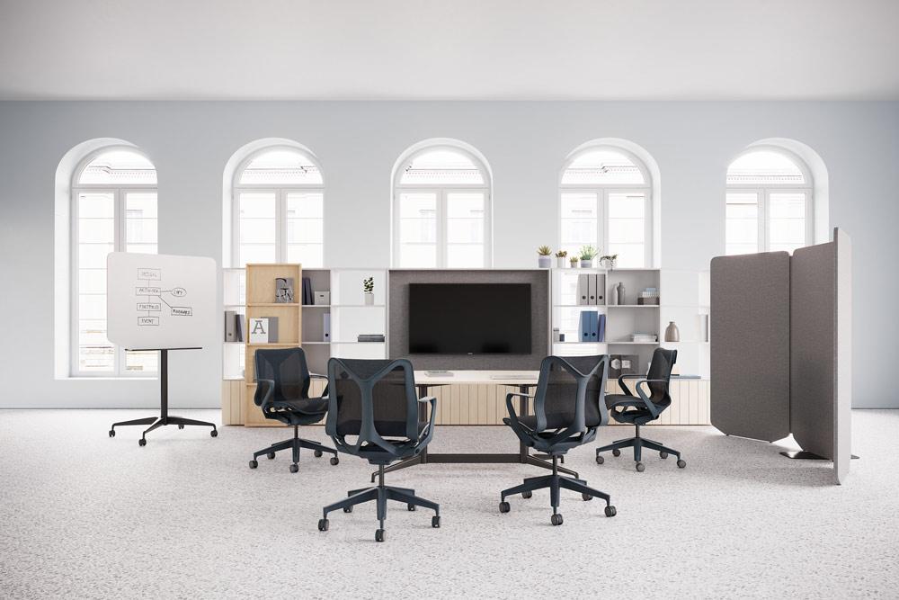 espace de reunion travail avec chaises de bureau cosm noir