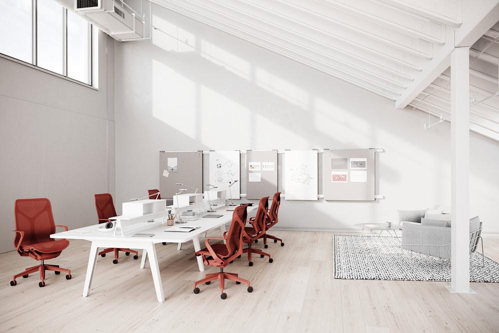 sale de reunion avec chaises be bureau rouges